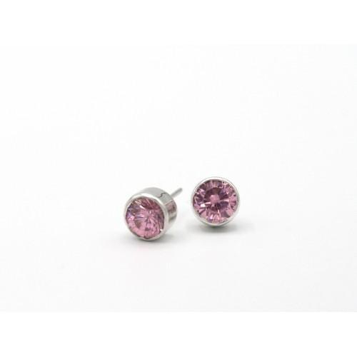 Orecchini in argento 925 con zirconi rosa diametro 7 mm - valentinadomenichelli.com