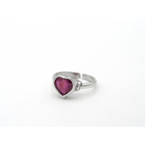 Anello HEART in argento 925 con rubino - ValentinaDomenichelli.com