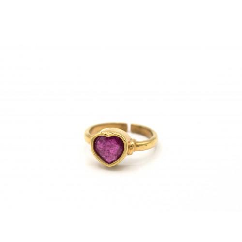 Anello HEART in argento 925 bagnato oro giallo con rubino - ValentinaDomenichelli.com