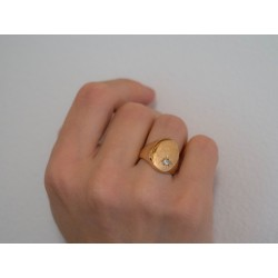 Anello Chevalier  in bronzo rosato con zircone bianco - smettila collection - valentinadomenichelli.com