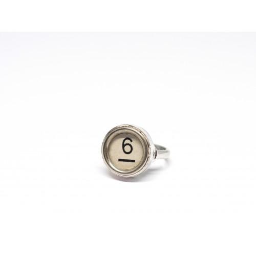 Anello in argento 925 e tasto originale di macchina da scrivere d'epoca